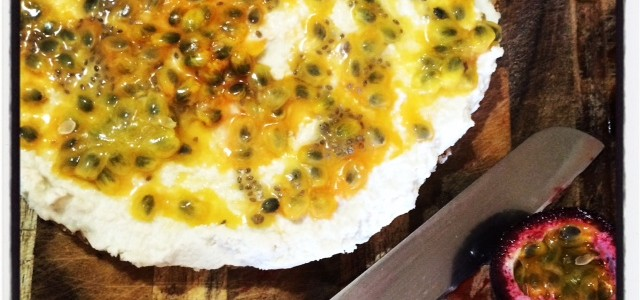Raw lemon and passionfruit cheesecake