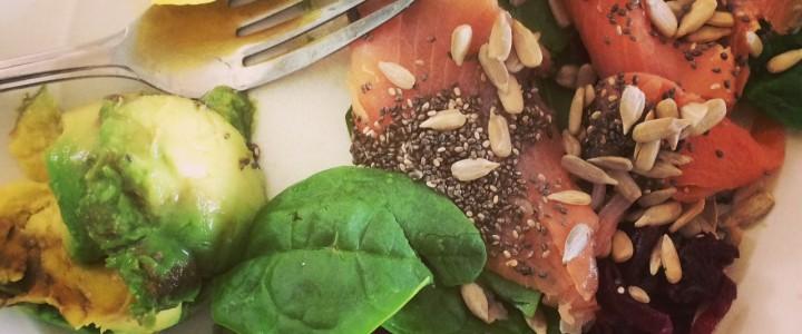 Simple salmon, lemon and chia salad