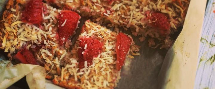 Strawberry, coconut and chia slice